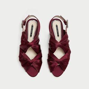 NWT Zara Maroon Satin Gem Buckle Slingback Sandal